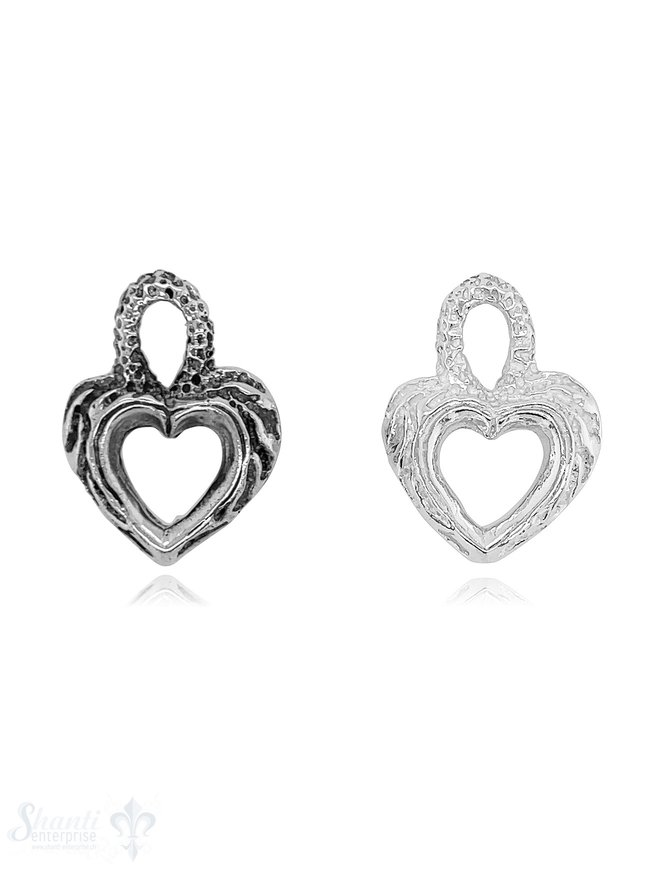 Herz Anhänger Rahmen Silber verziert mit integrierter Öse oval gross verziert