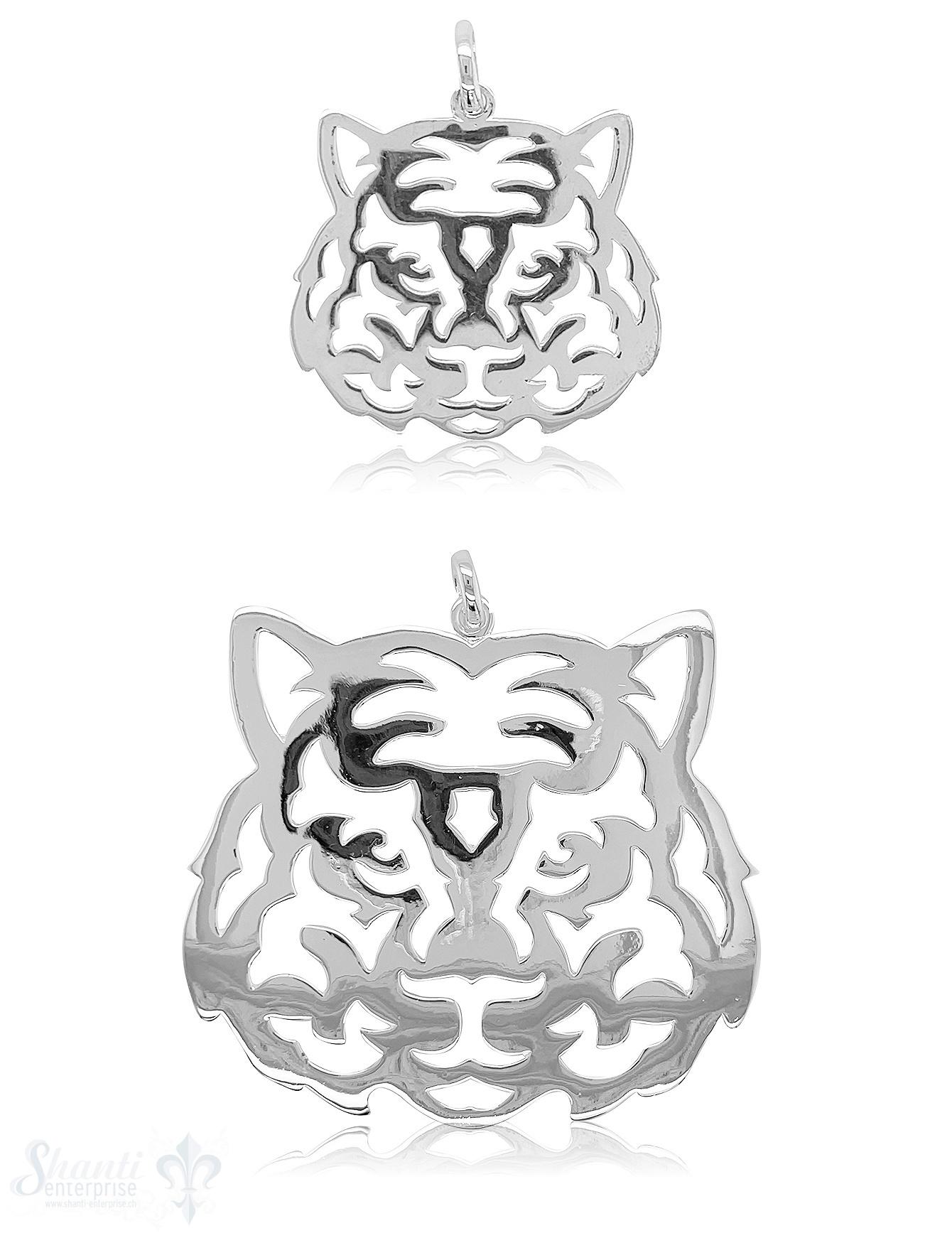 Tiger Anhänger flach Silber hell poliert durchbrochen mit Öse