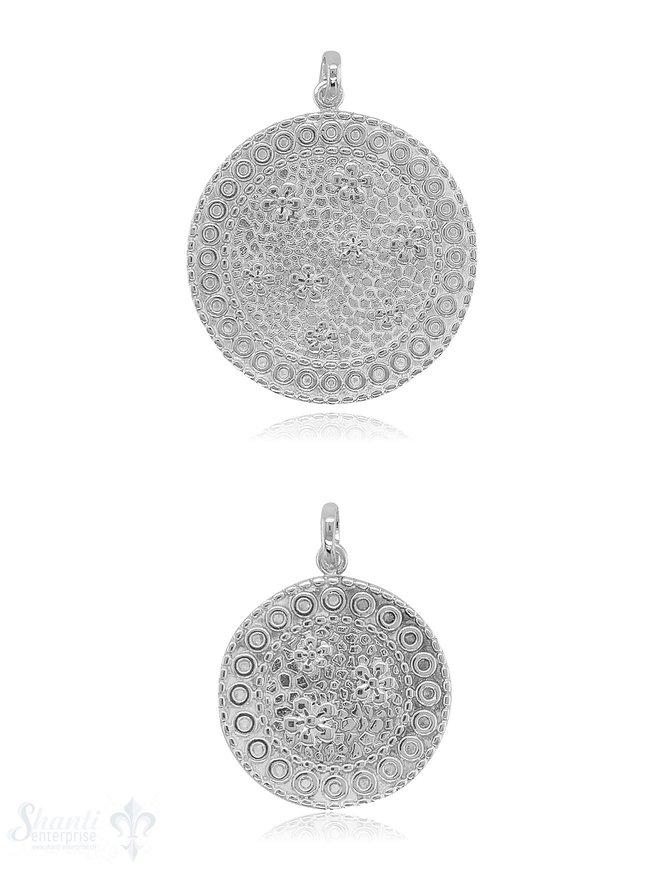 Medaillon Anhänger Silber mit Blumenmuster 2 div. Muster mit Öse