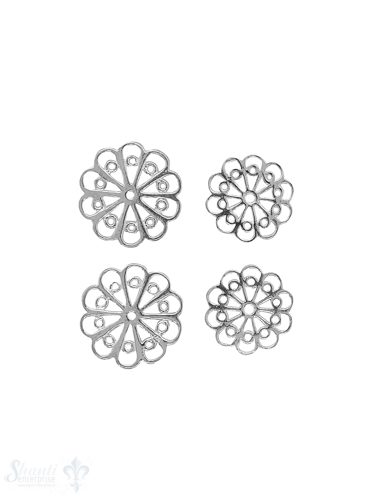 Blumen Amulett Silber hell durchbrochen filigran verziert ohne Öse 1 Pack = 3 Stück