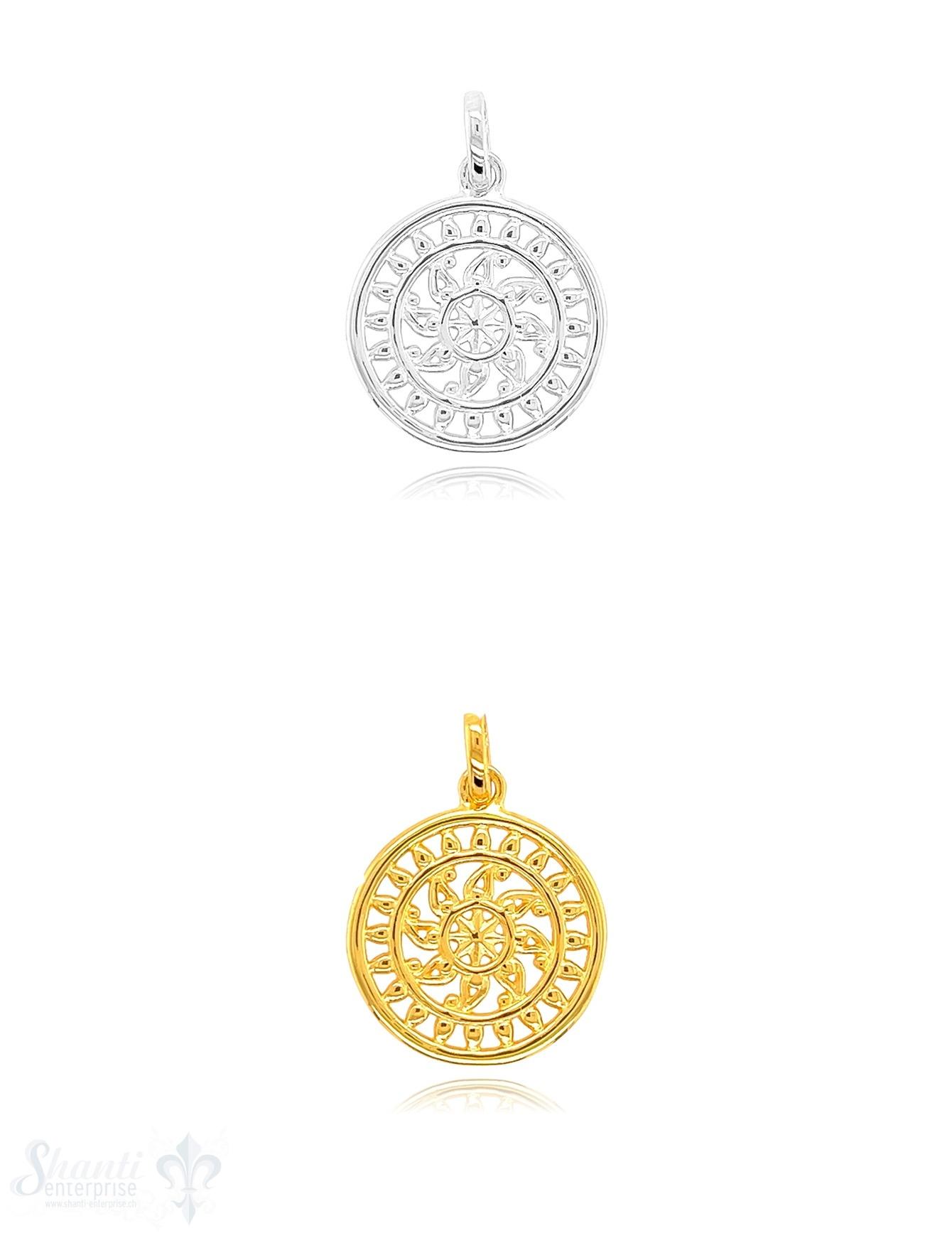 Sonnen Amulett 18 mm Silber durchbrochen mit indischem Glücksrad verziert mit Öse