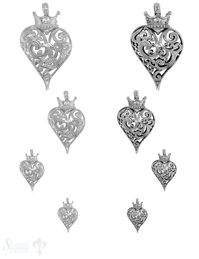 Herz Anhänger mit Krone Silber durchbrochen verziert Öse fix gross