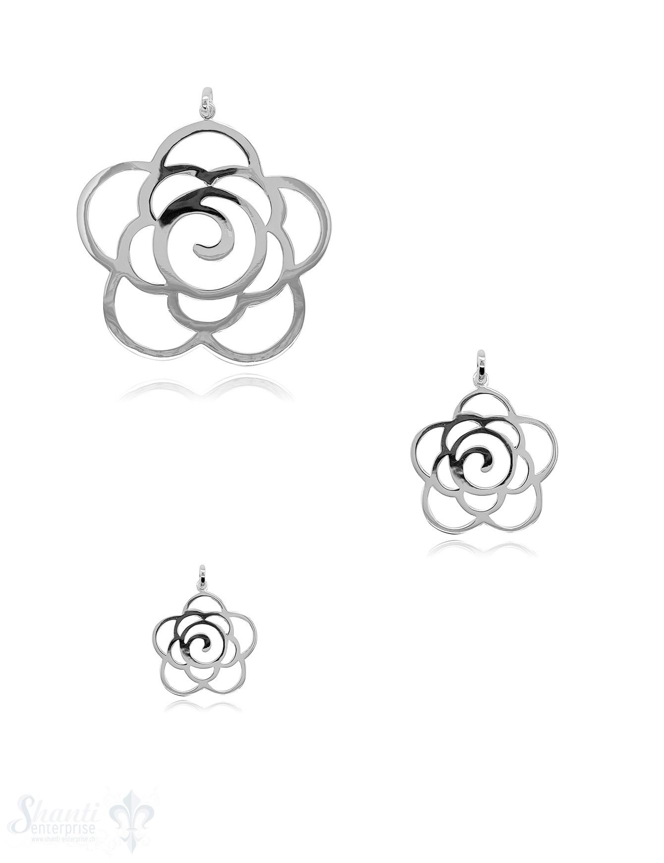 Blumen Anhänger Silber durchbrochen mit Öse