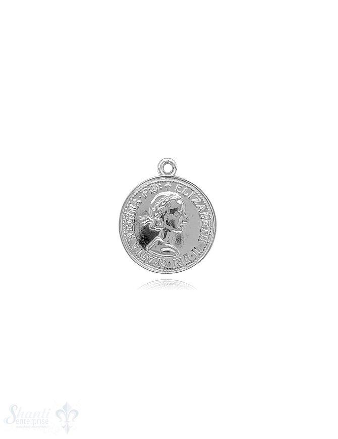 Münzen Medaillon Silber hell mit fixer Öse