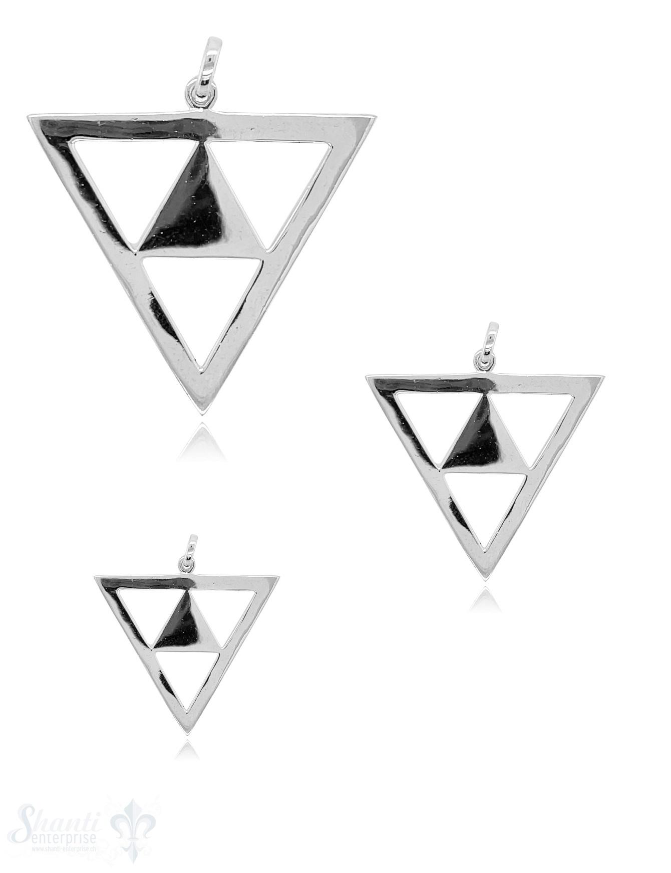 Dreieck Anhänger Silber durchbrochen mit Dreieck gefüllt mit Öse