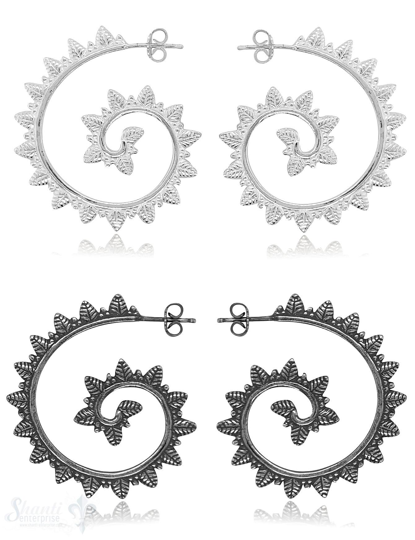 Ohrstecker Creolen 38x34 mm Silber Blätter-Kranz mit Struktur eq