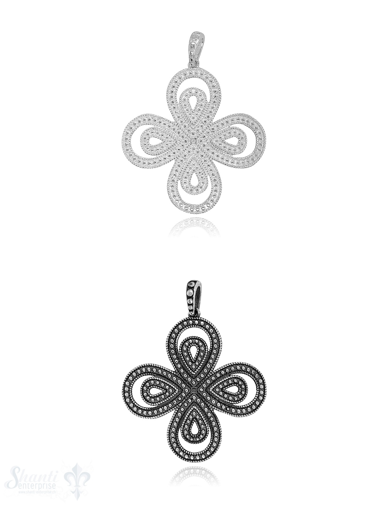 Blumen Amulett 32 mm doppelt vierblättrig Silber getupft mit getupfter Öse