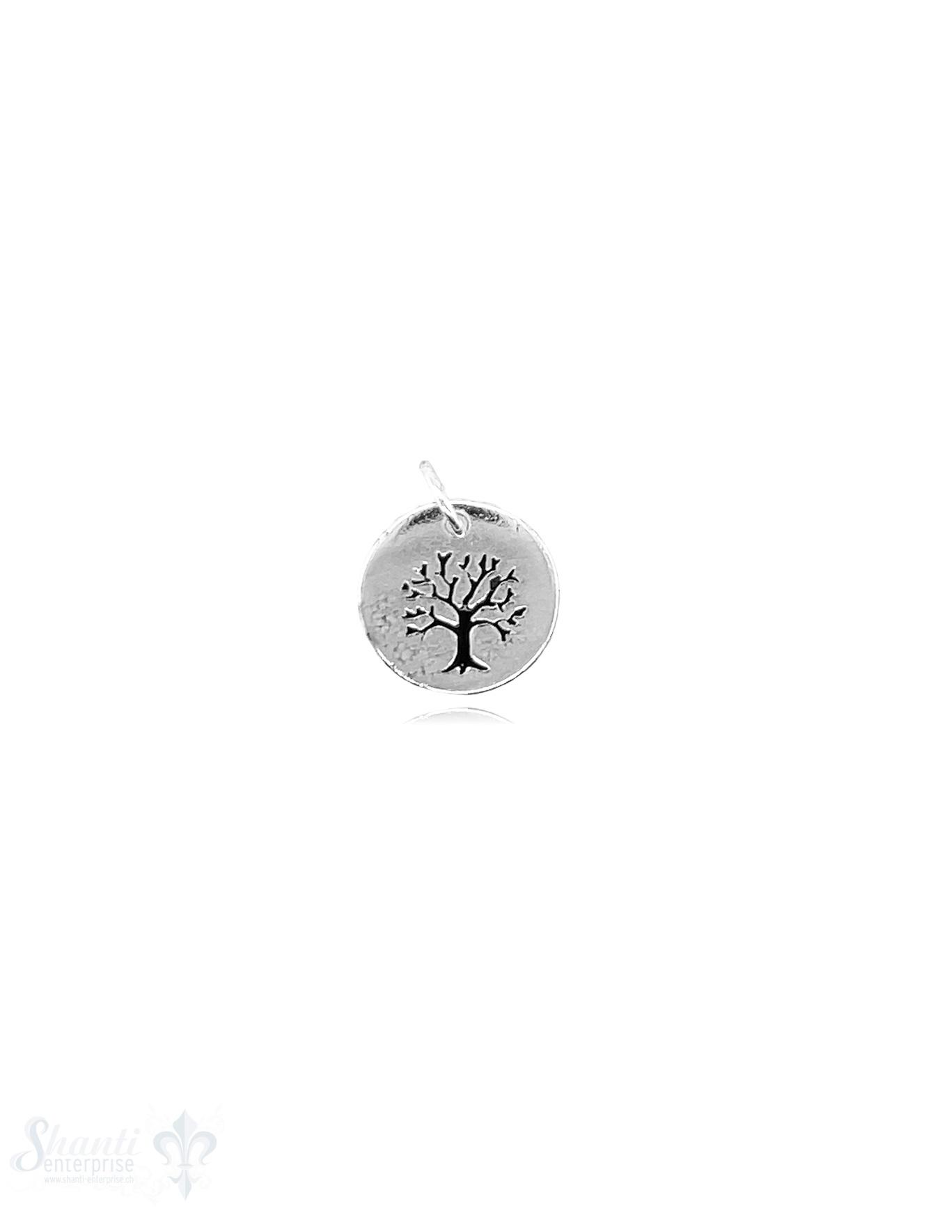 Si-Anhänger: Amulett rund mit Lebensbaum poliert D: 12 mm Dicke: 0.9