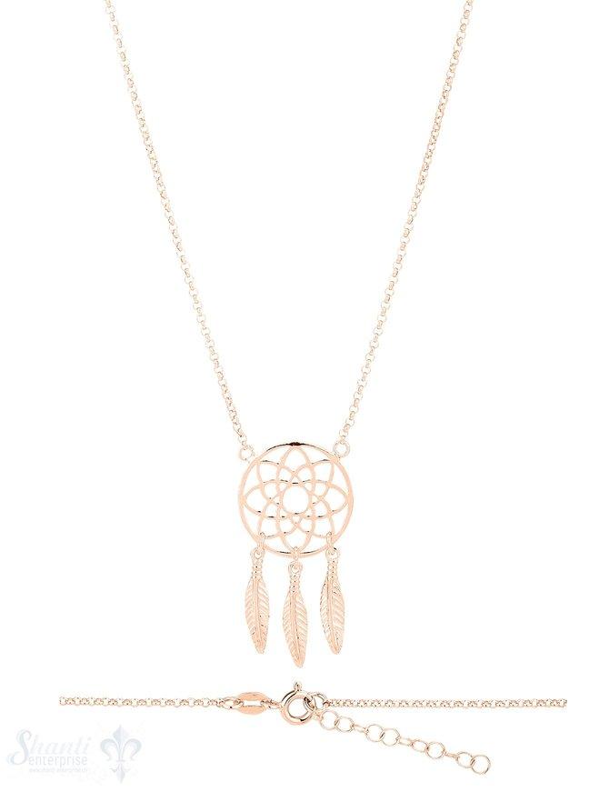 Halskette Silber mit Traumfänger 20 mm Grössen verstellbar 42-45 cm
