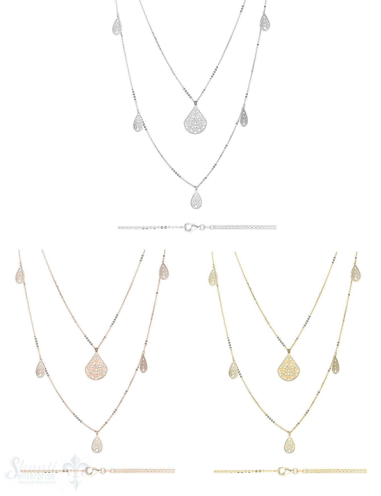 Si-Halskette:Anker fein facett. in 65 cm Kette ein Tropfen gemustert fein, 80 cm Kette 5 Tropfen ge- mustert unten verteilt
