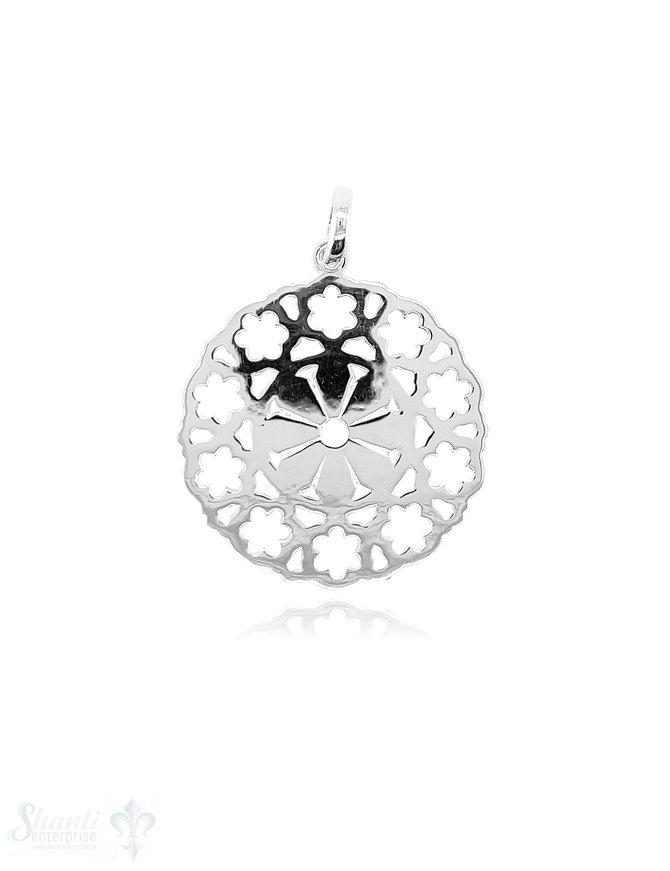 Blumen Amulett 28 mm Silber hell durchbrochen mit Öse oval ID 7,5x3,8 mm