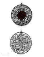 Holz Amulett Anhänger 55 mm Silber geschwärzt filigran verziert Rückseite nur Silber Lotusblumen öse fix 8,5x4,0 mm ID 5,5 mm  Handmade