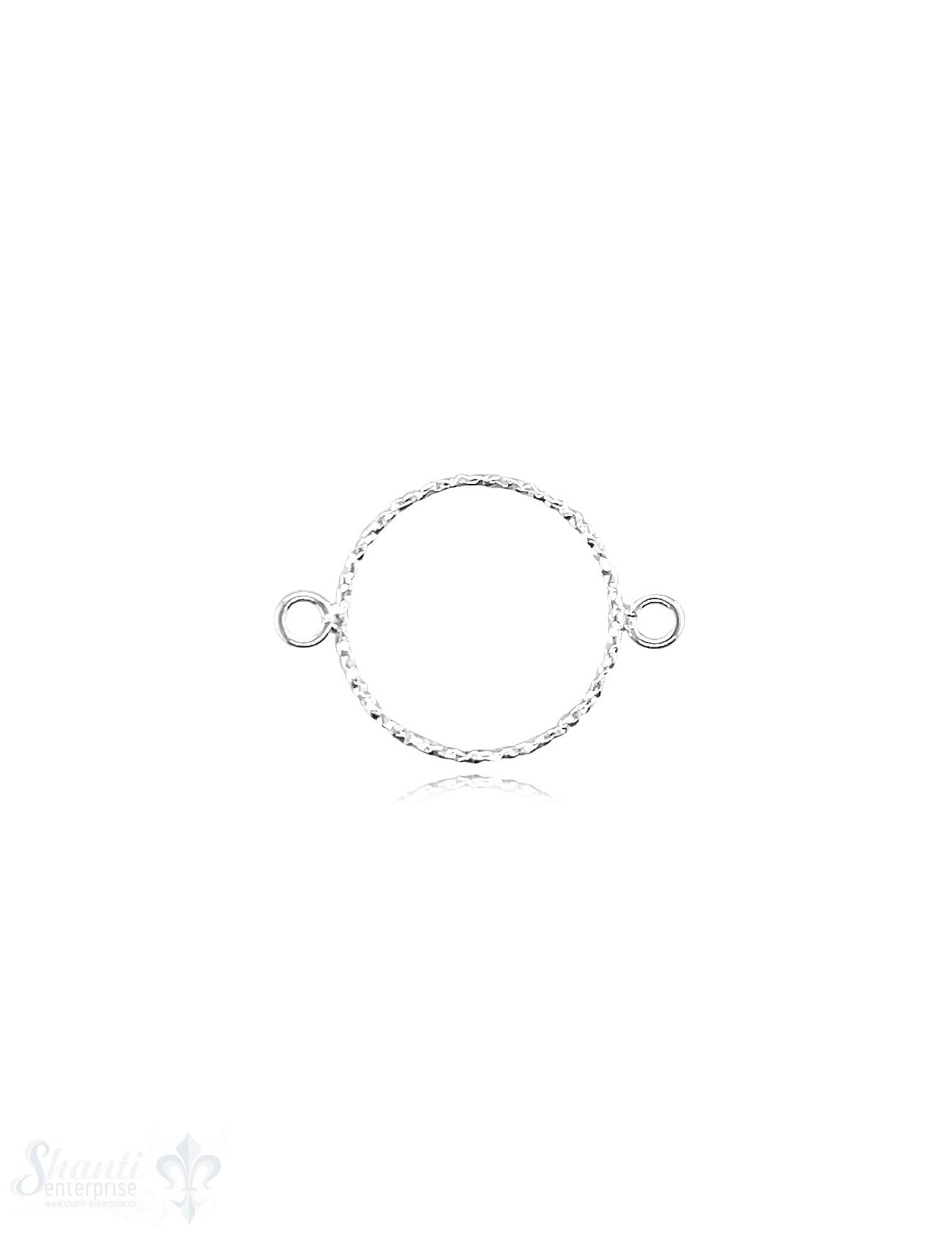Ring gehämmert 14 x 0,9 mm Silber hell gepunktet