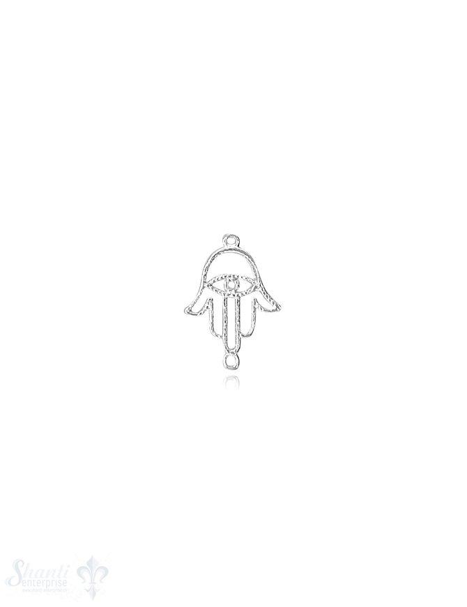 Fatimahand fein 14x9 mm Silber hell gepunktet durchbrochen mit Doppelösen ID 0,6 mm 1 Pack = 5 Stk.