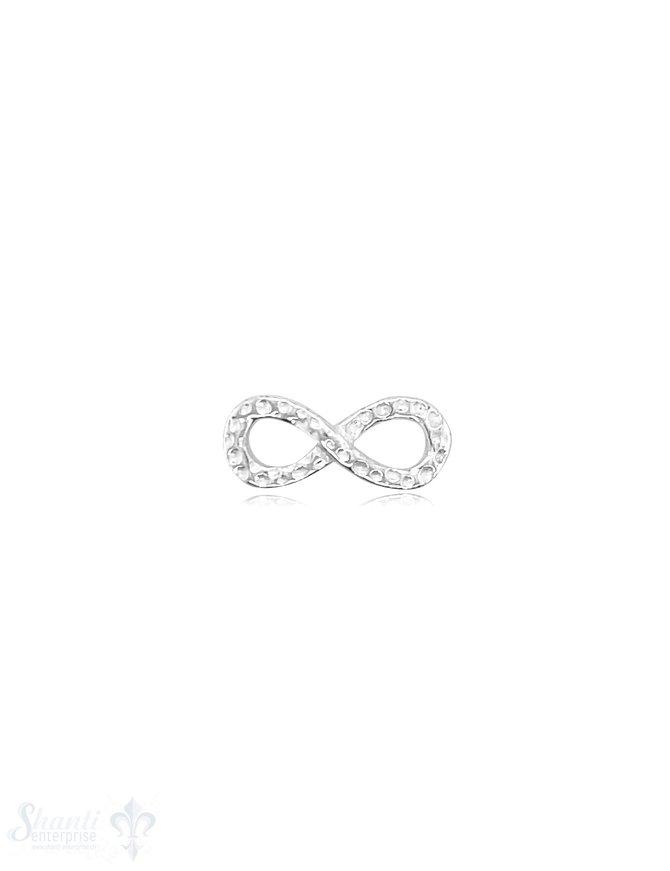 Infinity 17x7 mm Silber Vorderseite gehämmert durchbrochen 2 mm flach 1 Pack = 3 Stk.