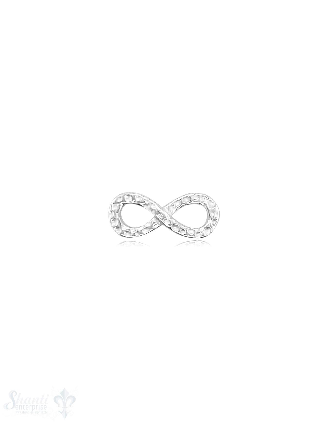 Infinity 17x7 mm Silber Vorderseite gehämmert