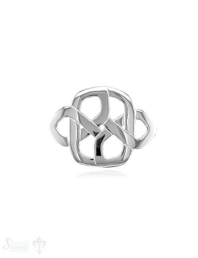 Keltischer Knoten 37x27 mm Silber poliert abstrakt durchbrochen integrierte Doppelösen 4,5x6,5 mm
