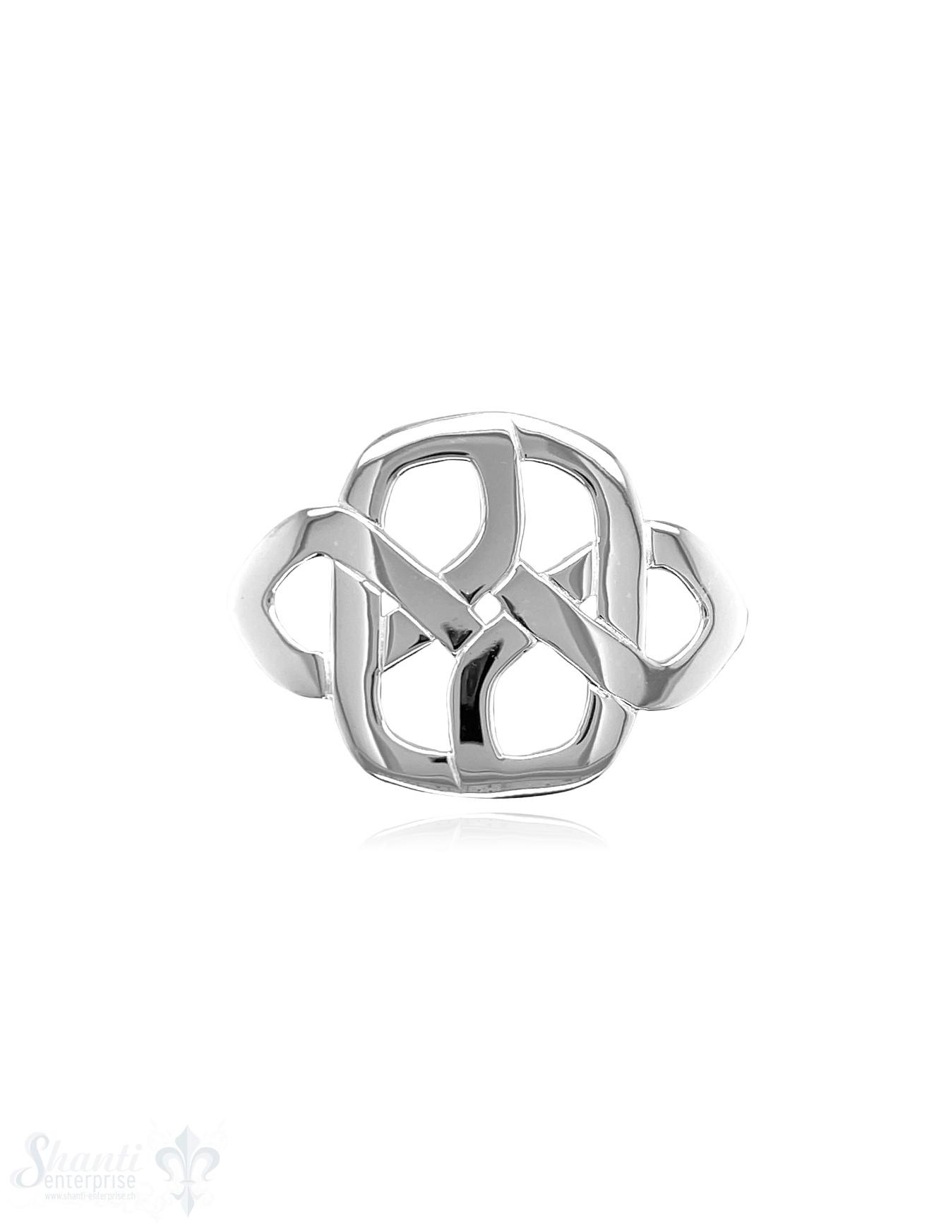 Keltischer Knoten 37x27 mm Silber poliert abstrakt