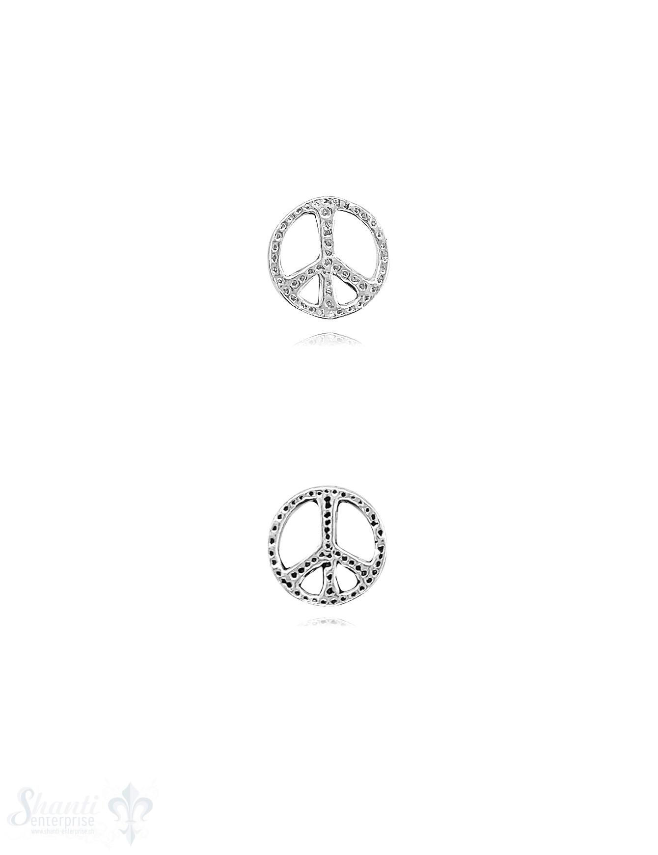 Peace Zeichen 12 mm Silber flach gepunktet durchbrochen 1,2 mm 1 Pack = 2 Stk.