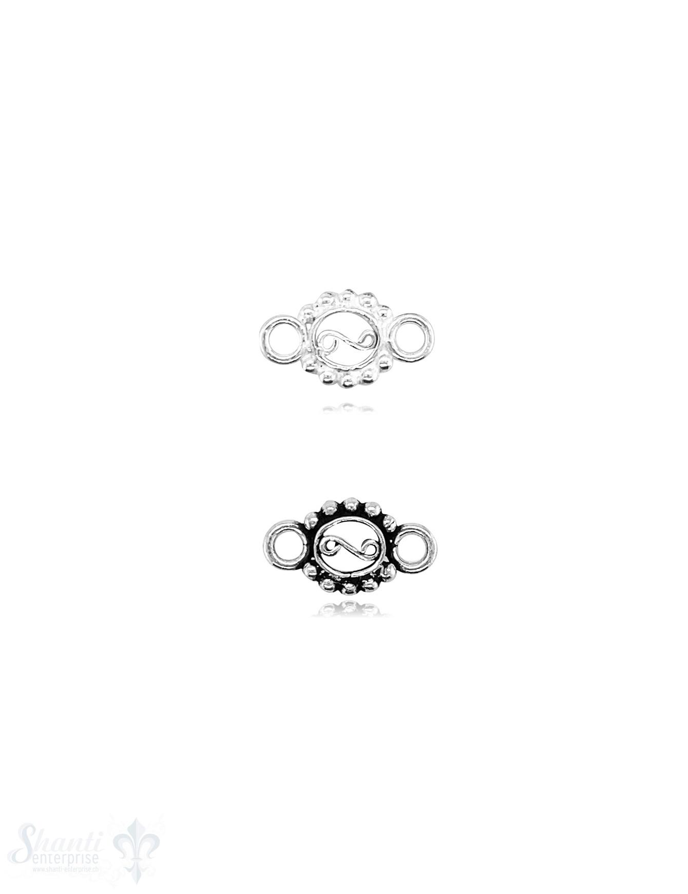 Oval 15x8 mm Silber gepunktet mit. Doppelösen ID2,5 mm 1 Pack = 3 Stück   Ag 925