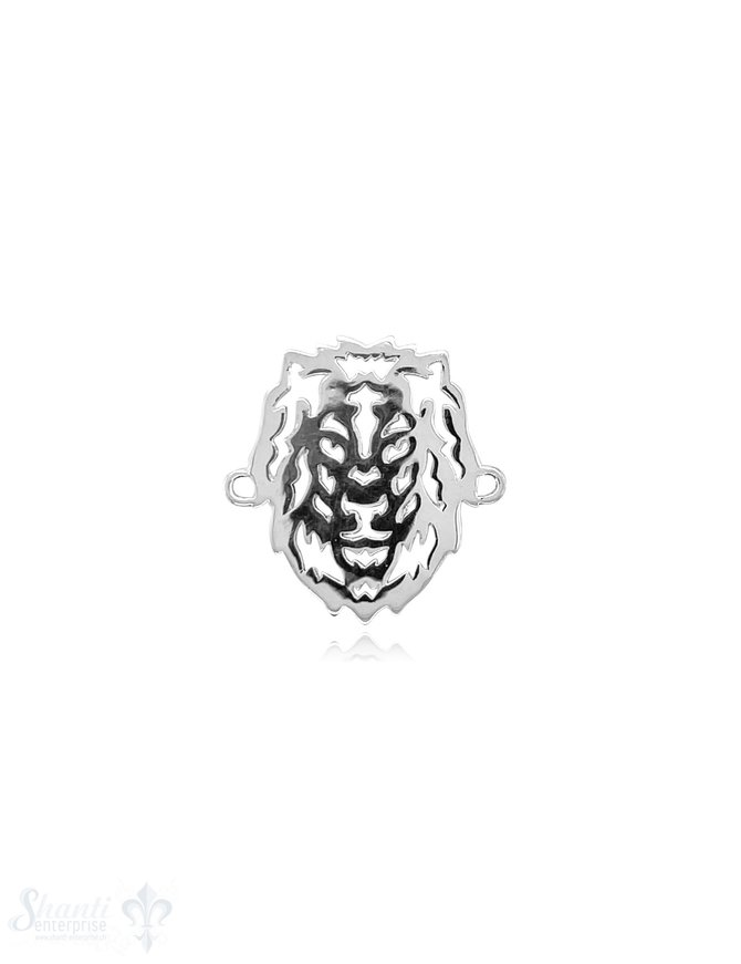 Löwe 25x20 mm Kopf Silber poliert durchbrochen flach mit Doppelösen ID 2,8 mm