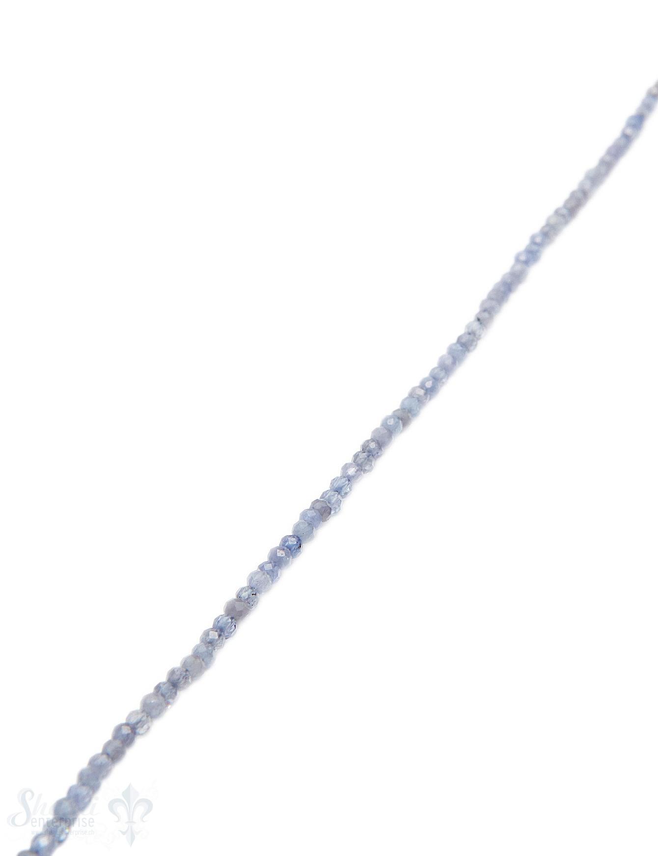 Tansanit Strang blau facettiert Kugeln 2 mm AA