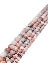 Botswana Achat Strang rosa-grau poliert Kugeln AA