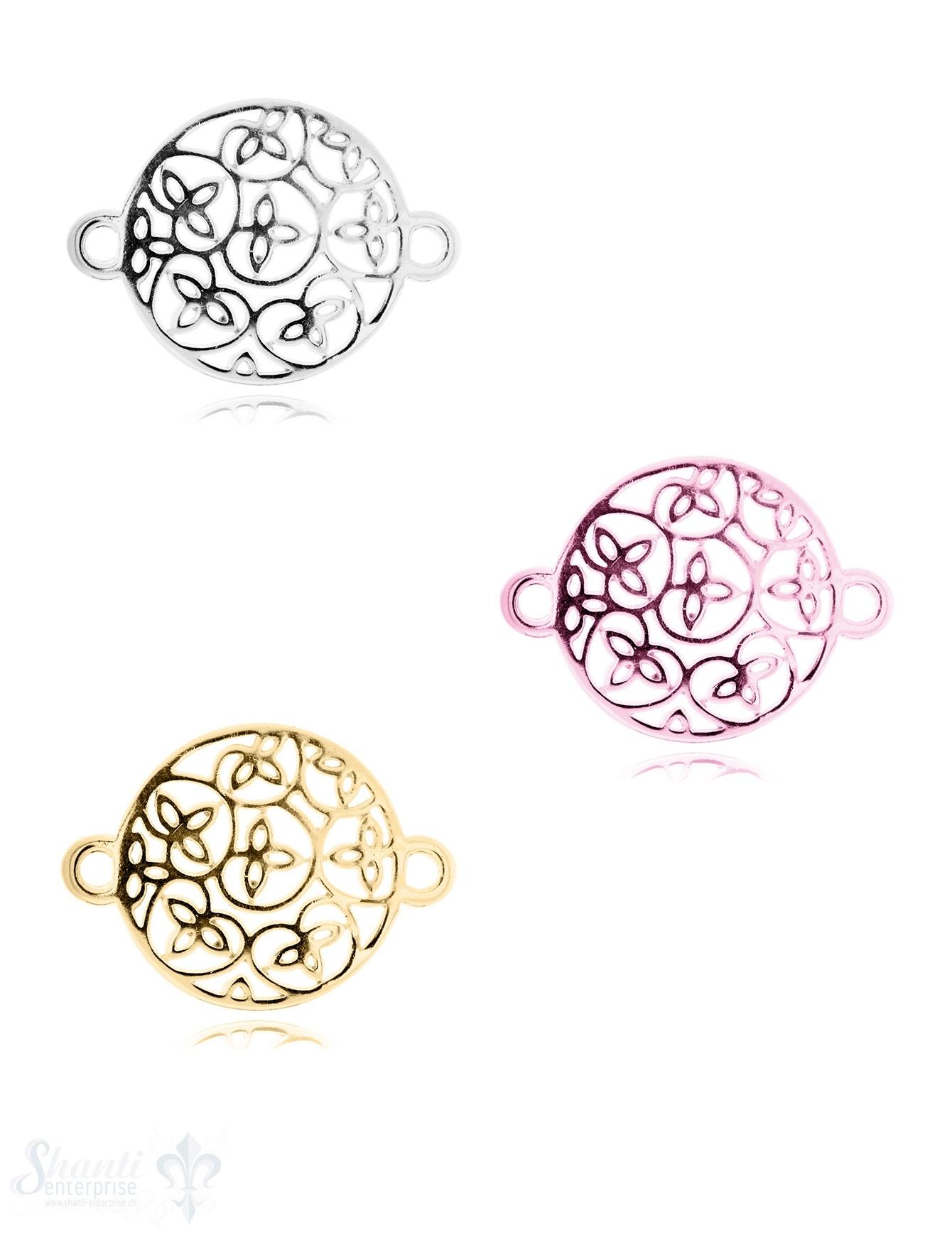 Silberteil mit Doppelösen: Amulett mit Blumenrank 27x20mm Dicke: 1.7 mm durchbrochen