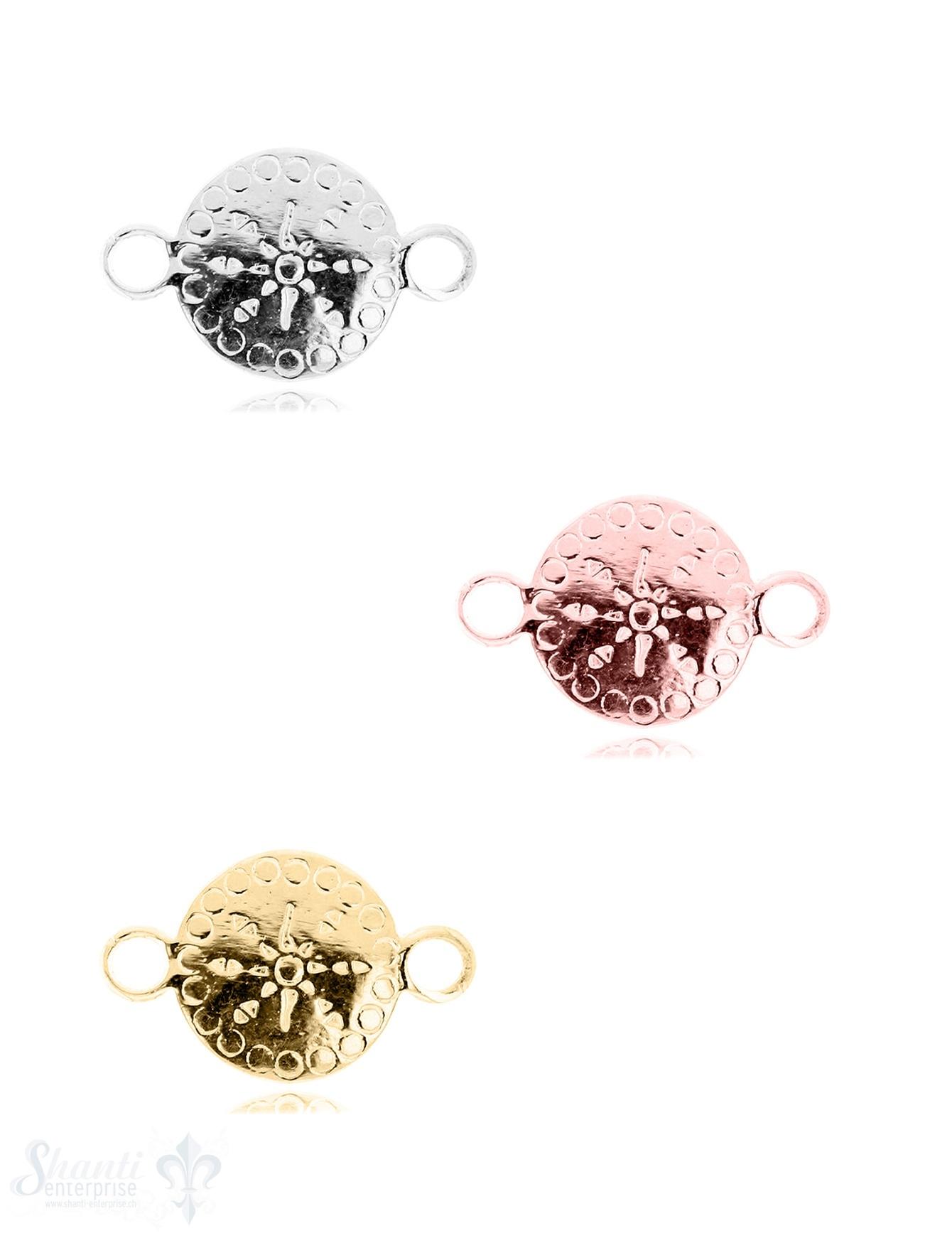 Silberteil mit Doppelösen: Amulett mit Muster 24x15mm Dicke: 1.9 mm poliert