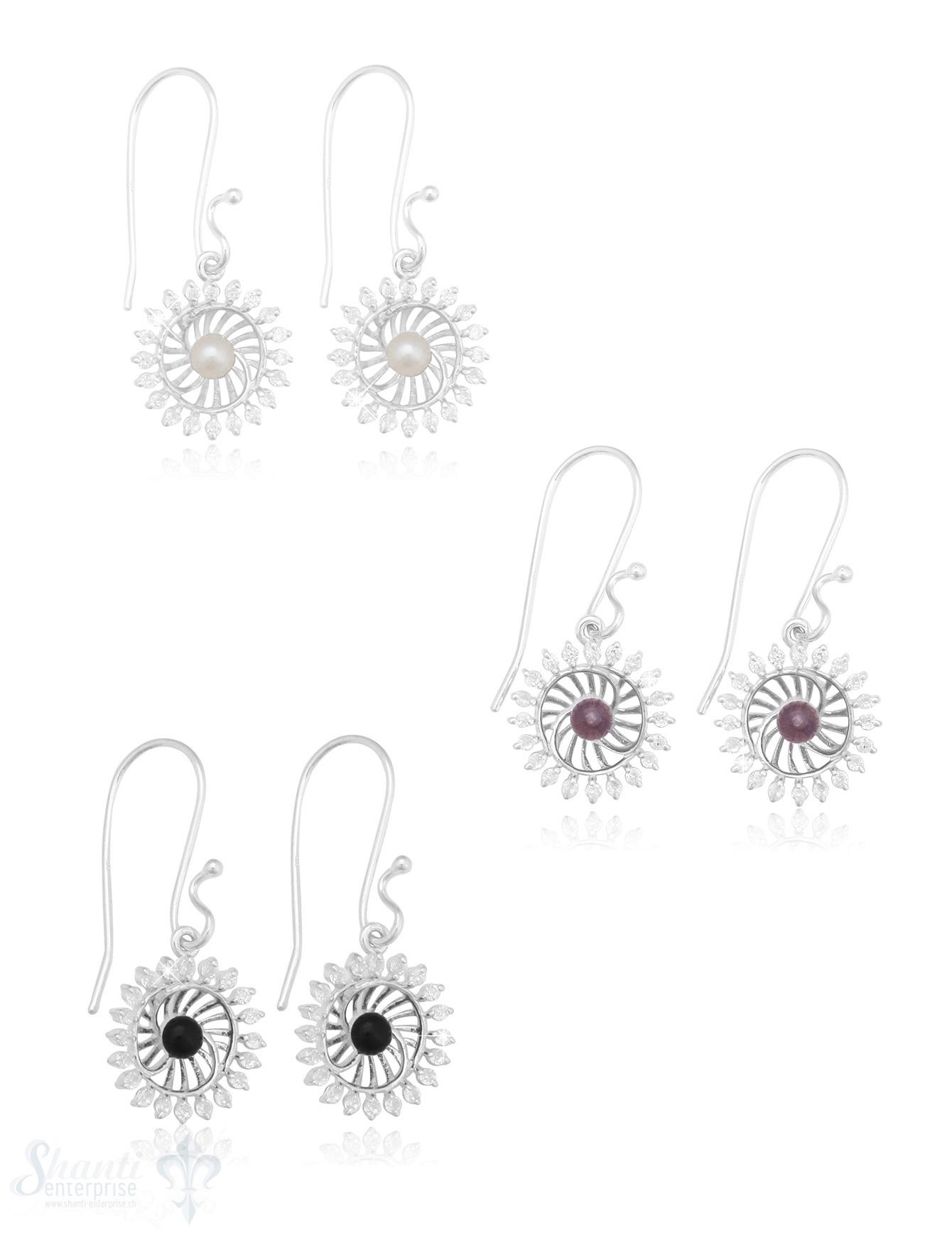 Ohrhänger Silber hell 16 mm Sonne mit Zirkonia durchbrochen mit Bügel