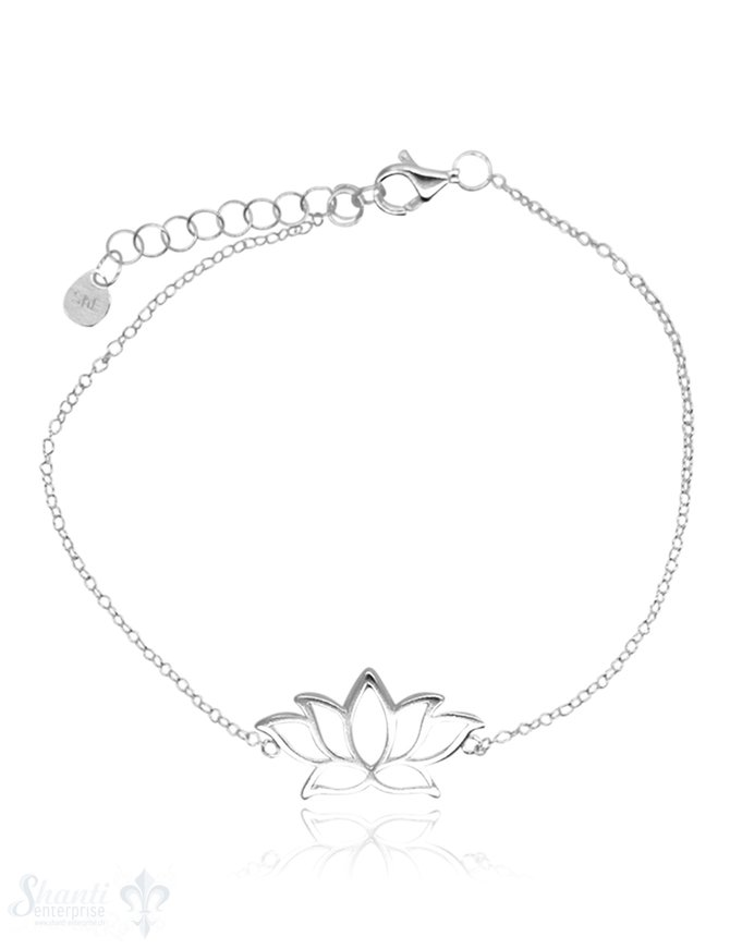 Armkette Anker fein Silber hell mit Lotusblume durchbrochen 16-19 cm Grössen verstellbar Karabiner