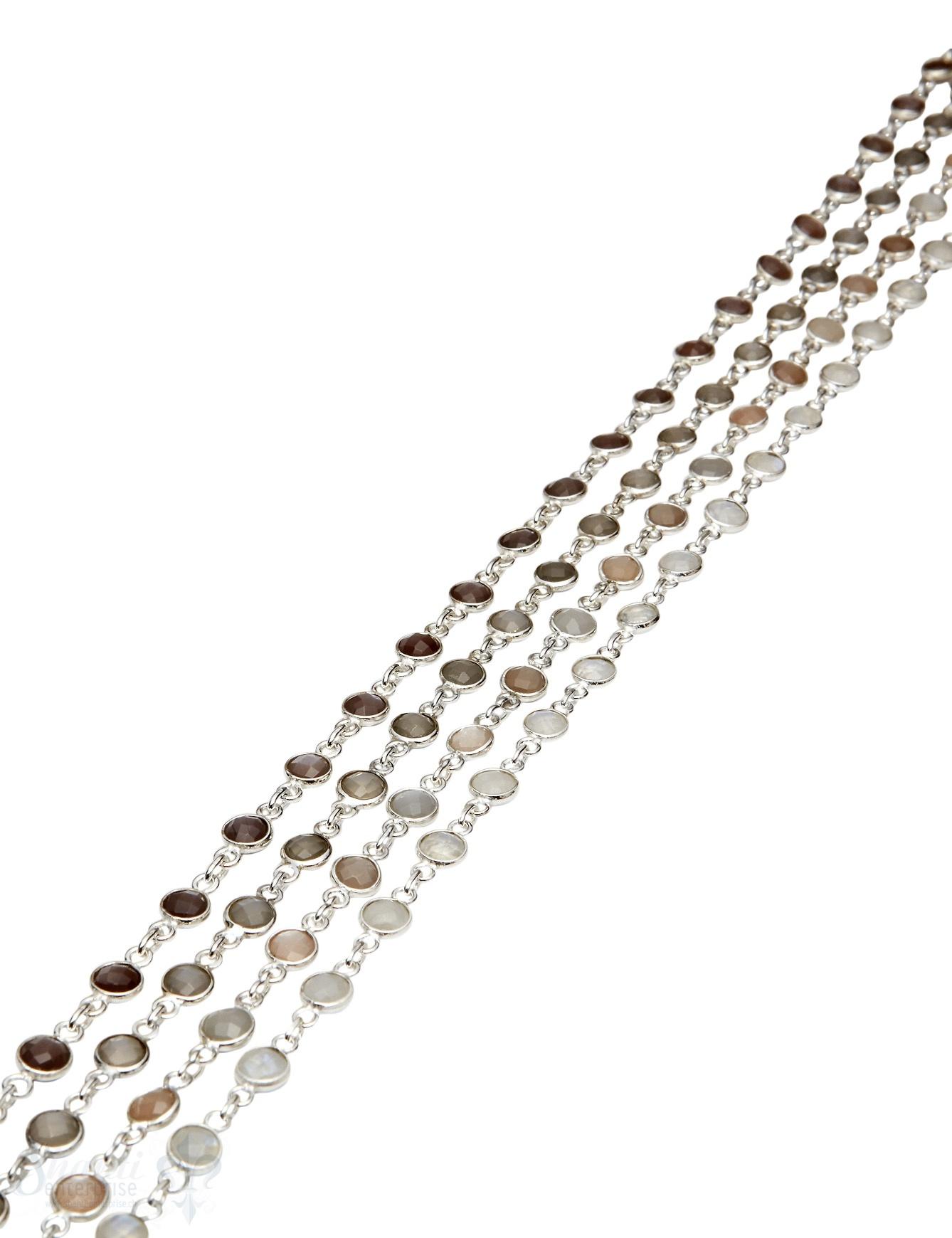 Silberkette mit facett. Steinen 6 mm rund eingefasst Abschnittlänge wird angepasst Preis / cm