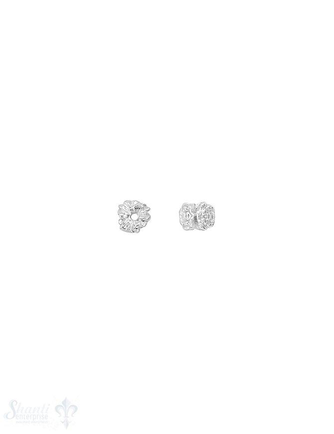 Blumen Element Rose 5,5x4 mm verziert Silber hell ID 1,0 mm 1 Pack = ca. 10 Stk. ca. 5 gr.