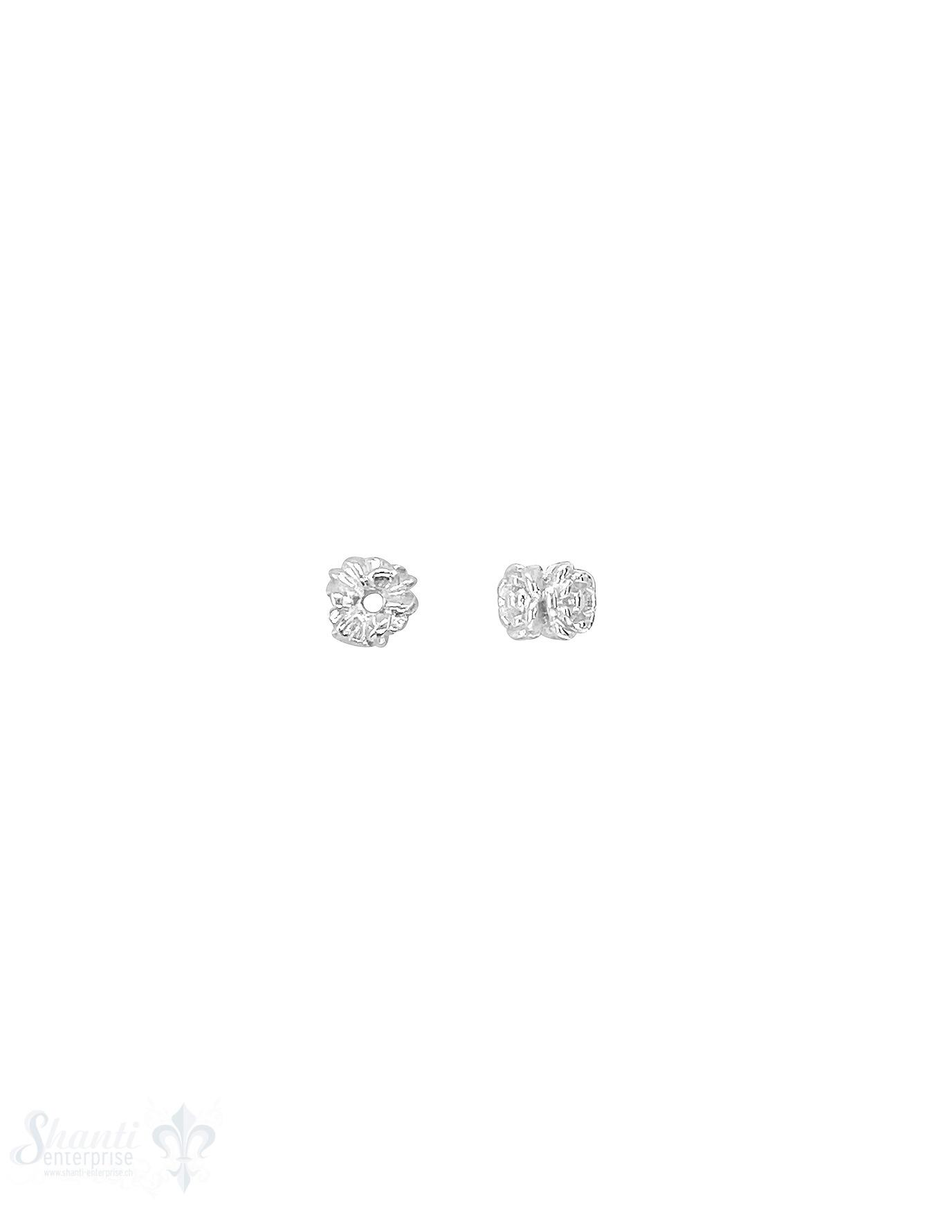 Blumen Element Rose 5,5x4 mm verziert Silber hell
