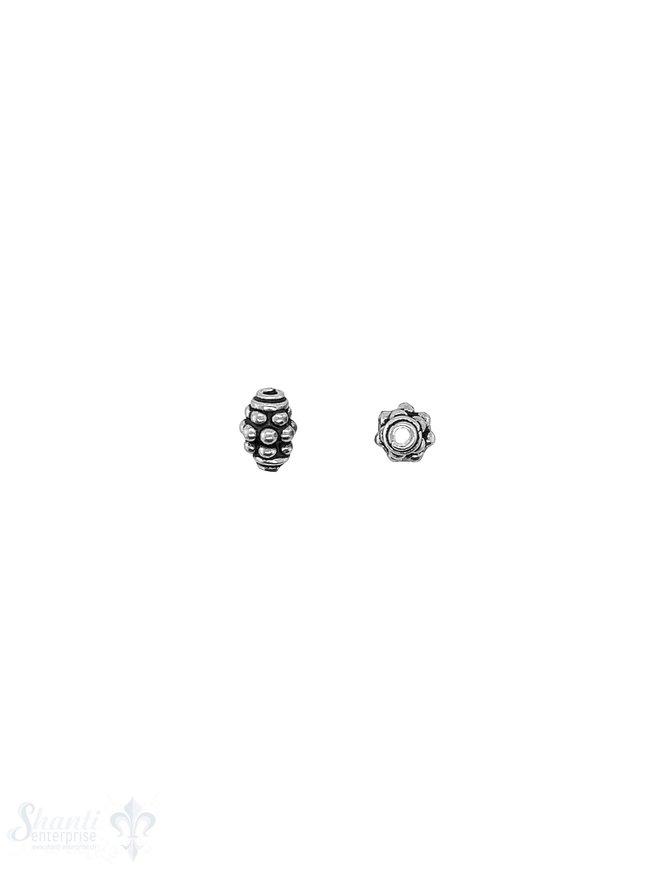 Navette Element 7x5 mm unregelmässig getupt Silber geschwärzt Ring-Abschluss ID1,0 mm 1 Pack = 10 Stk. ca. 5 gr.
