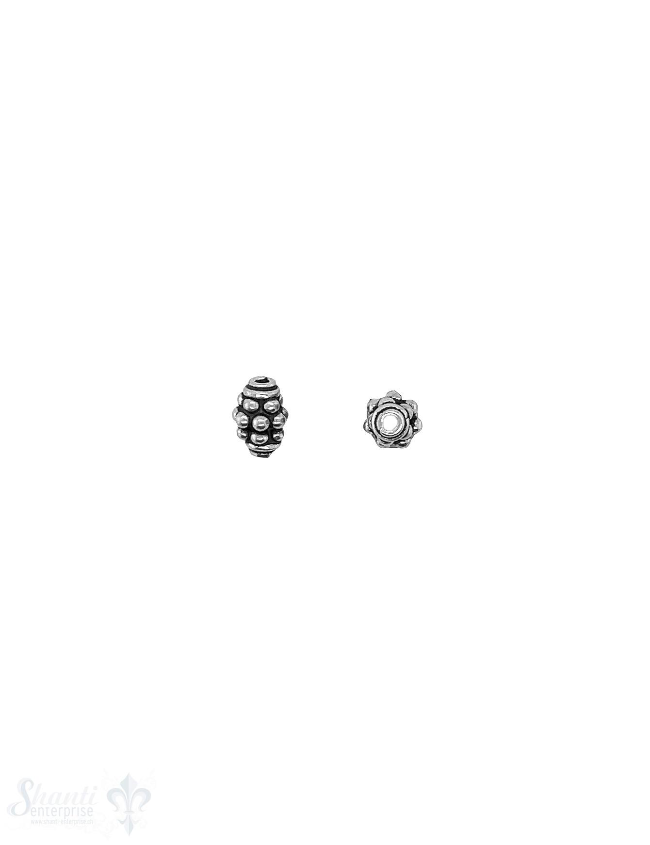 Navette Element 7x5 mm unregelmässig getupt Silber