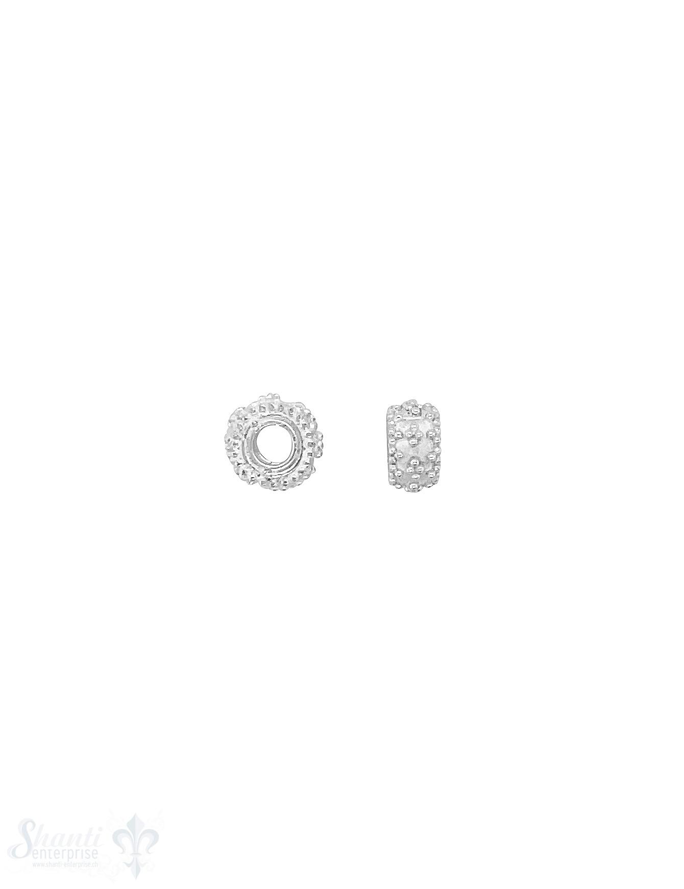 Rondellen Element 8x4 mm getupft ziseliert Silber