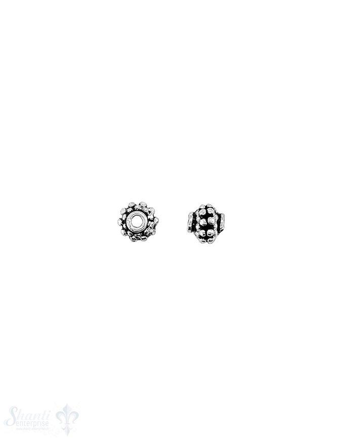 Blumen Element 5,5x6 mm verziert offen mit Rand Silber geschwärzt ID 1.3 mm 1 Pack = 9 Stk. ca. 5 gr.