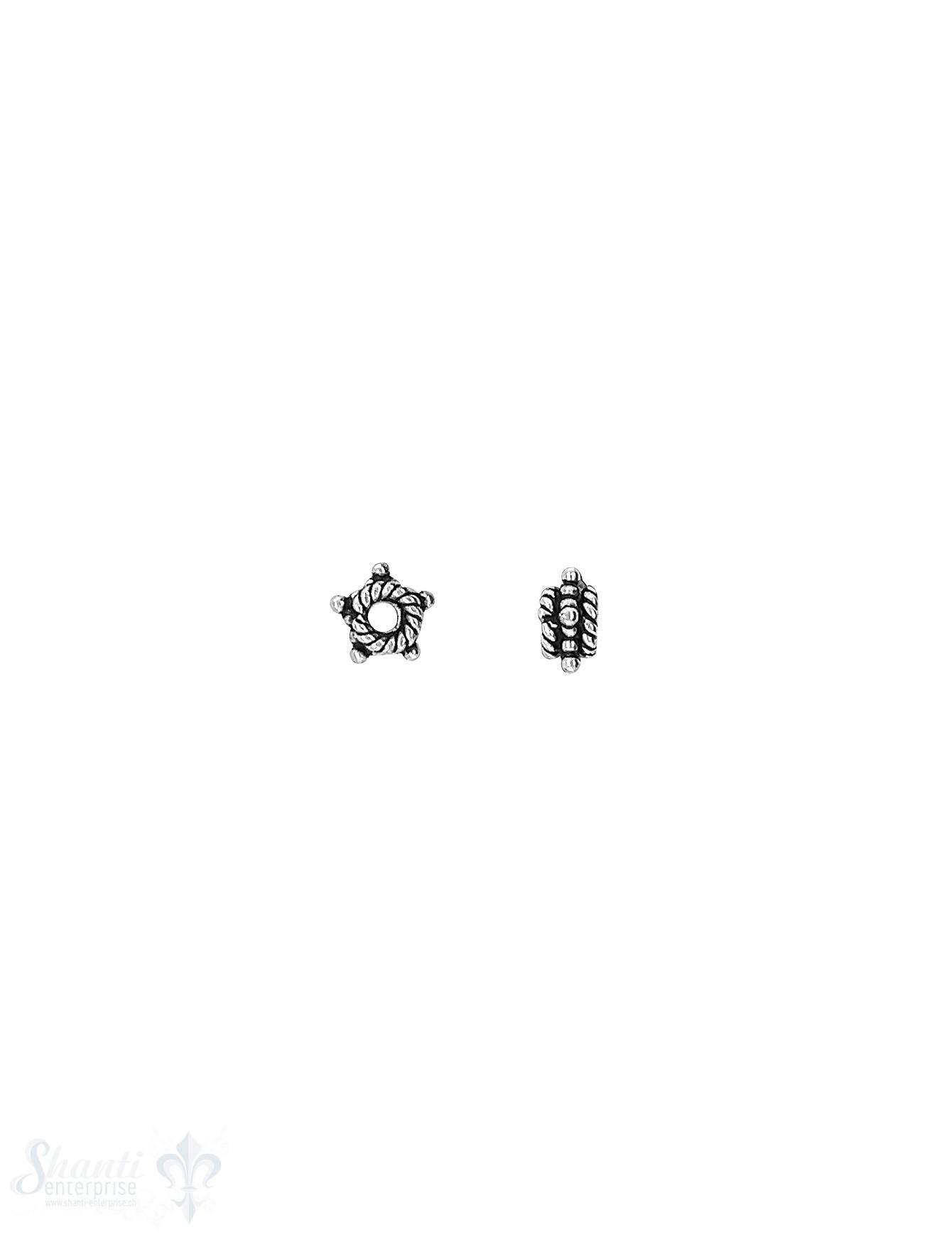 Stern Element 6x2,9 mm  5-zackig getupft verziert