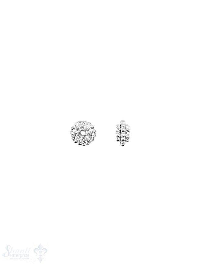 Blumen Element 6x3,5 mm 3-lagig versetzt getupft Silber hell  ID 1.1 mm 1 Pack = 12 Stk. ca. 5 gr.