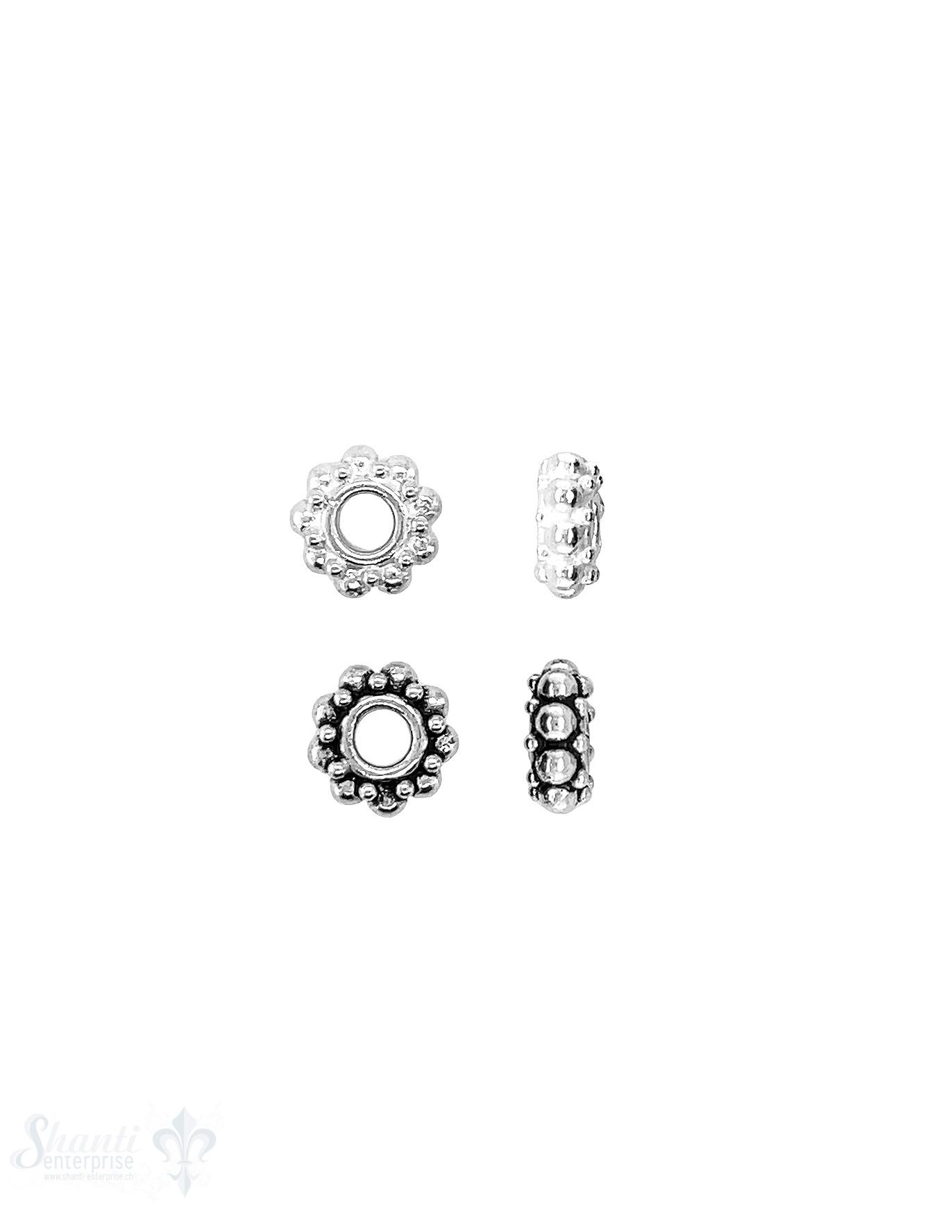 Blumen Element 9x4 mm Punkte klein und gross doppelreihig versetzt Silber ID 3.2 mm 1 Pack = 5 Stk. ca. 5 gr.