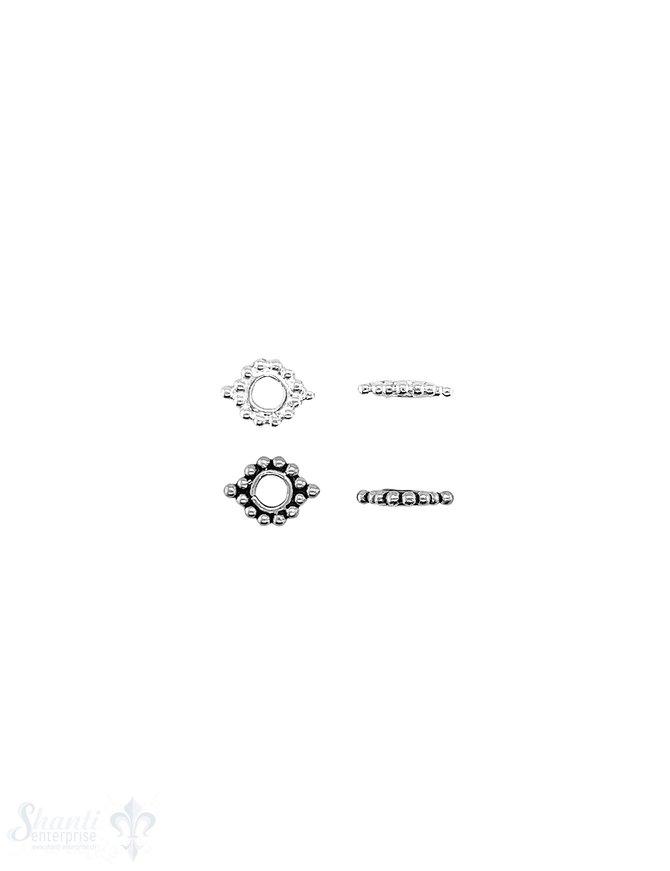 Blumen Element 8x6 mm Kugelkranz 1,3 mm Silber beidseitig je 2 Doppelpunkte ID 2.5 mm 1 Pack = ca. 23 Stk. ca. 5 gr.