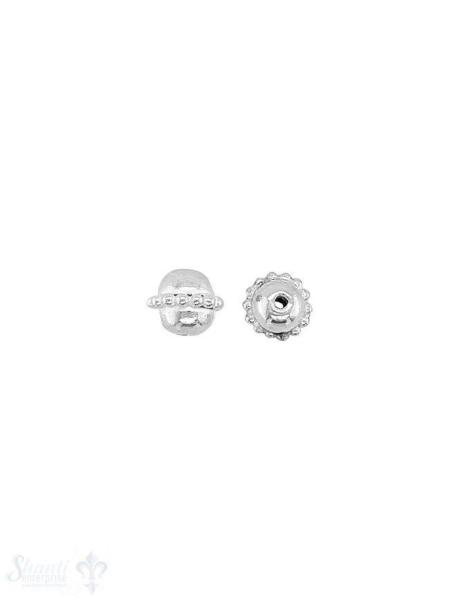 Kugel Element 6x5 mm Silber hell Kugelreihe 1 mm in der Mitte ID 1,0 mm 1 Pack = 10 Stk. ca. 5 gr.