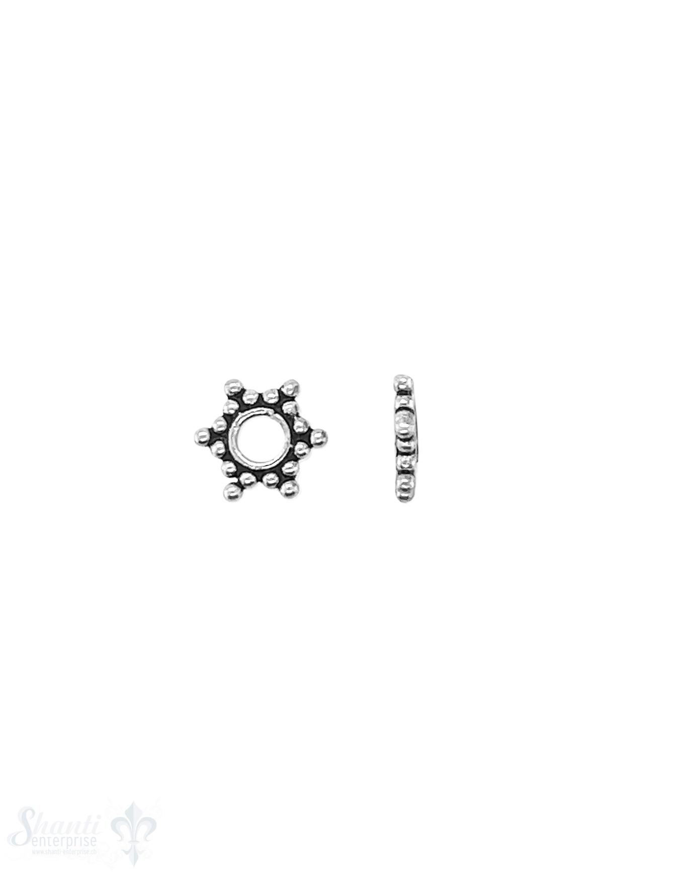 Stern Element 7 mm 6 Zacken Silber geschwärzt