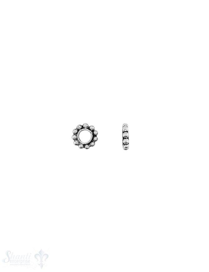 Blumen Element 7 mm Kugelkranz 1,6 mm Silber geschwärzt getupft ID 3.1 mm 1 Pack = 16 Stk. ca. 4 gr.