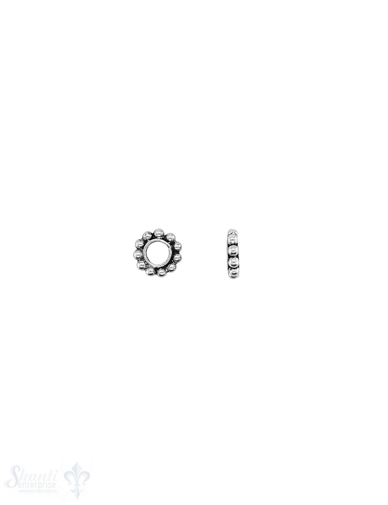 Blumen Element 7 mm Kugelkranz 1,6 mm Silber