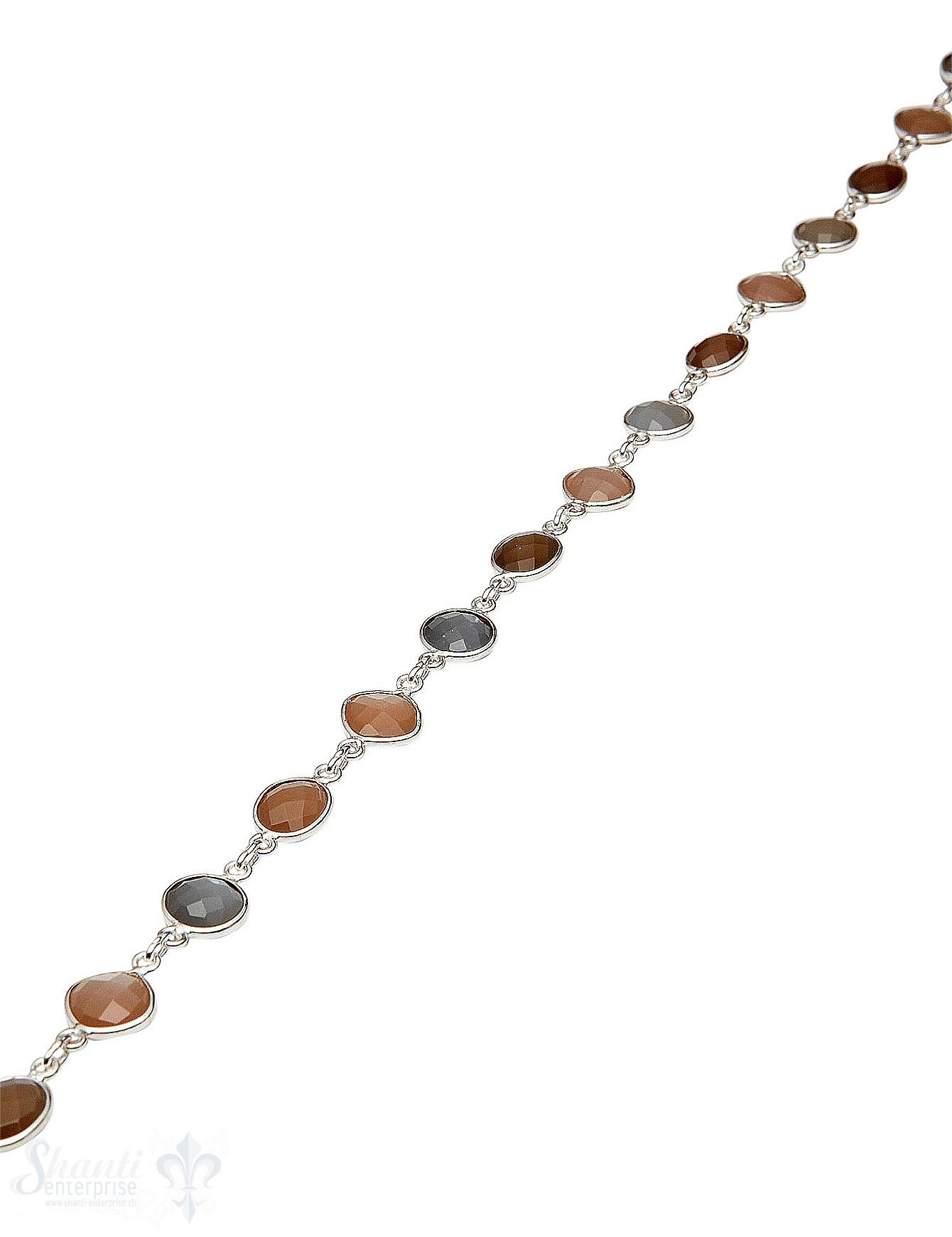Silberkette mit Mondstein multicolor facettiert ov
