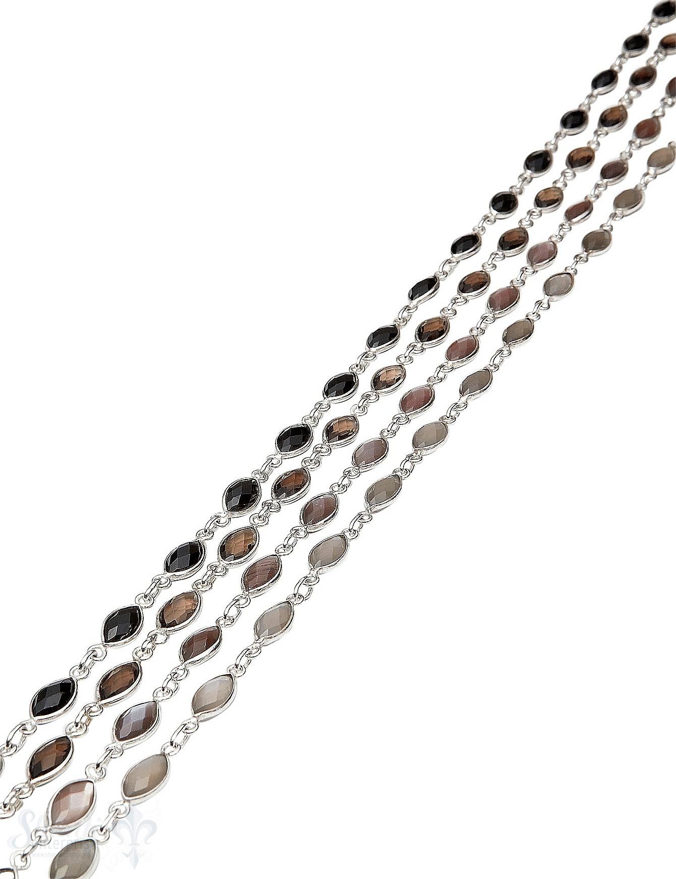 Silberkette mit Stein facett 11x7 mm Navette gefasst Abschnittlänge wird angepasst Preis per cm
