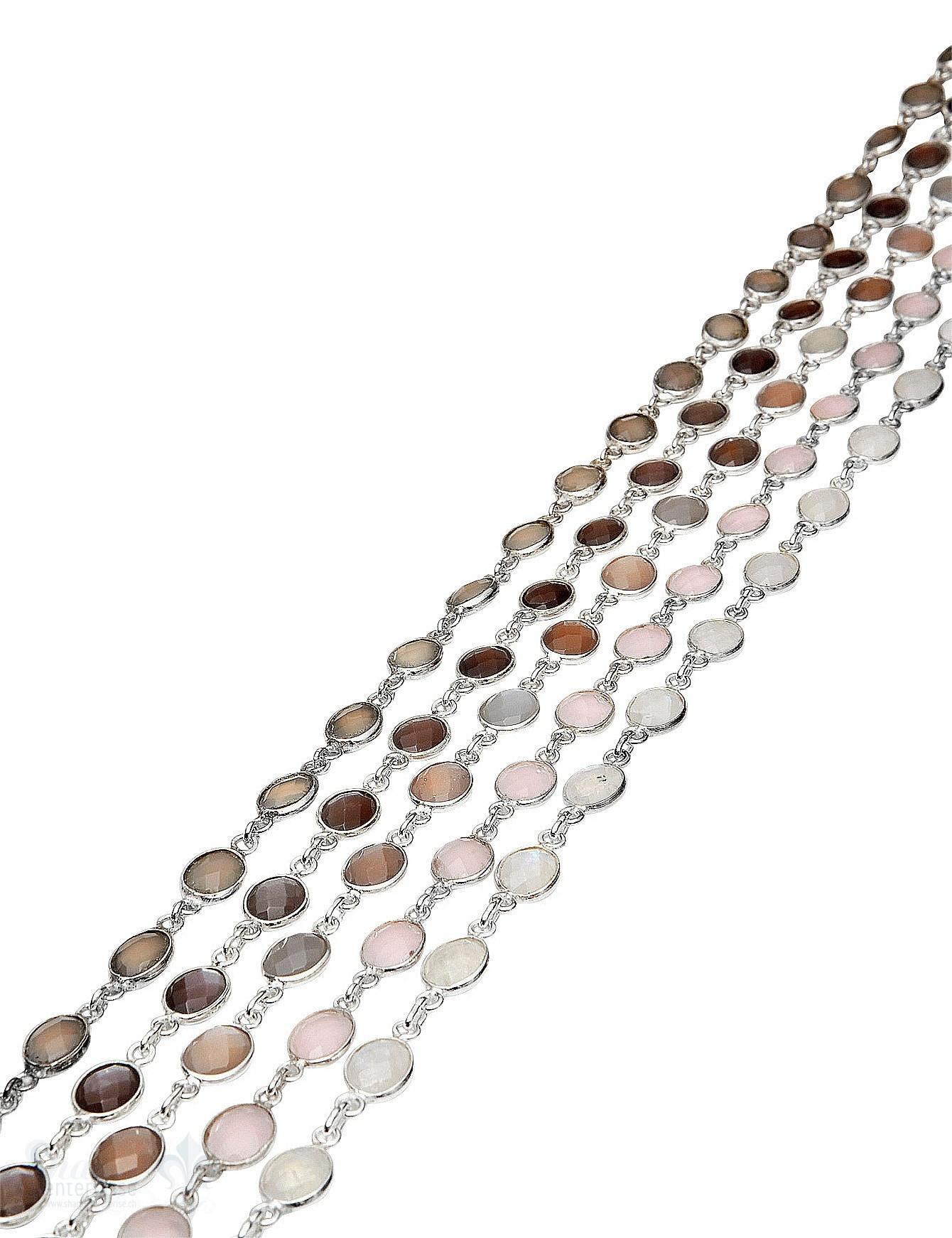 Silberkette mit Stein facett. 9x7 mm oval gefasst Abschnittlänge wird angepasst Preis per cm
