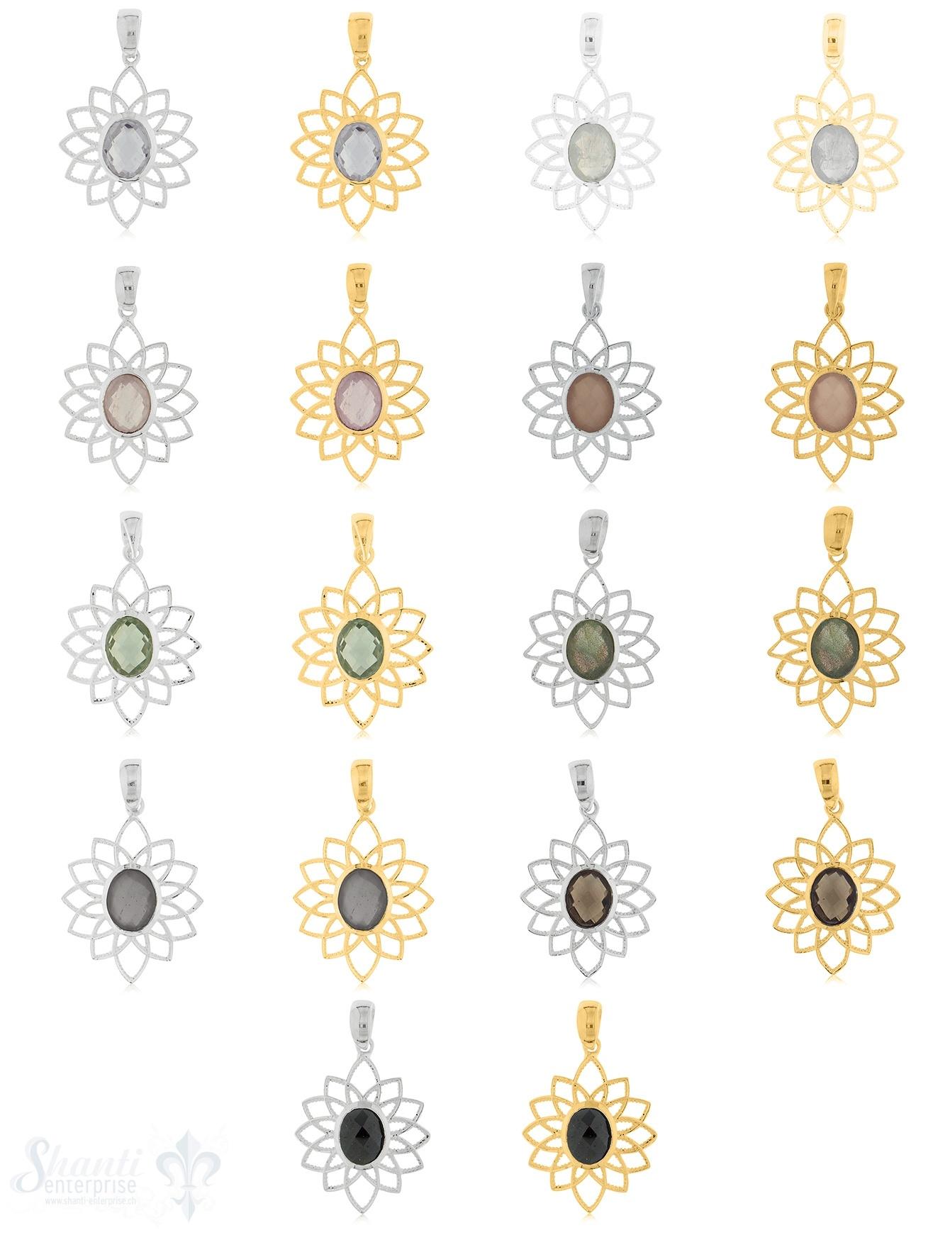 Anhänger Silber oval facett. Blumenblätter doppelreihig fein 21x28 mm mit Öse